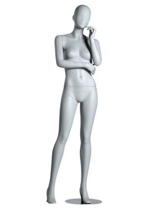 location mannequin vitrine femme tête stylisé blanc fibre de verre Lyon
