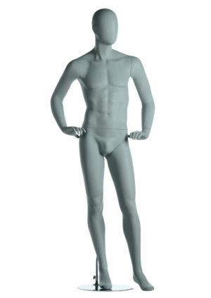 mannequin homme pour showroom mains à la taille blanc mat Lyon