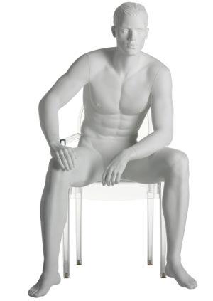 vente mannequin homme assis pour vitrine avec cheveux sculptés Lyon
